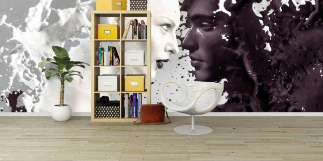 moderne schwarz-weiße Wandgestaltung als Tapete-moderne-deko-wand-tapete