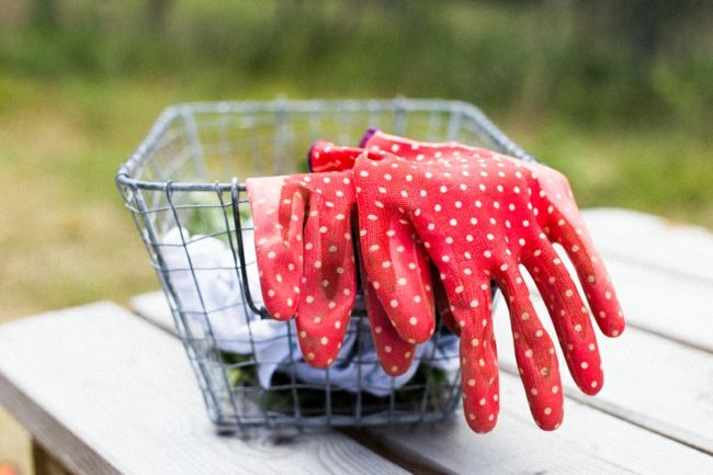 rote Gartenhandschuhe mit weißen Punkten als Gartendeko Gartendeko - Ideen
