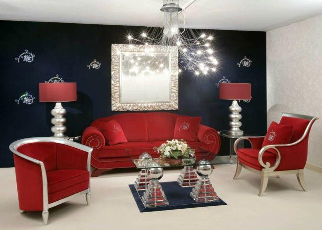 rote Möbel, blaue Wand, Stehlechte, Ambiente-wohnzimmer ideen