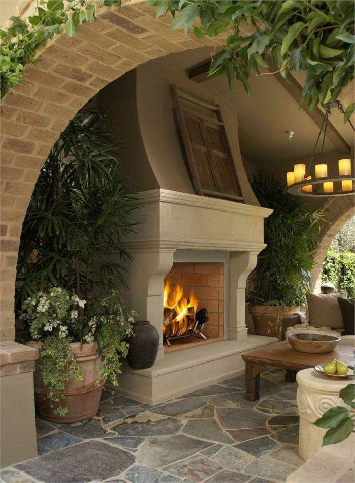 rustikalen Gartenkamin mit Überdachung-Dekoration für den garten