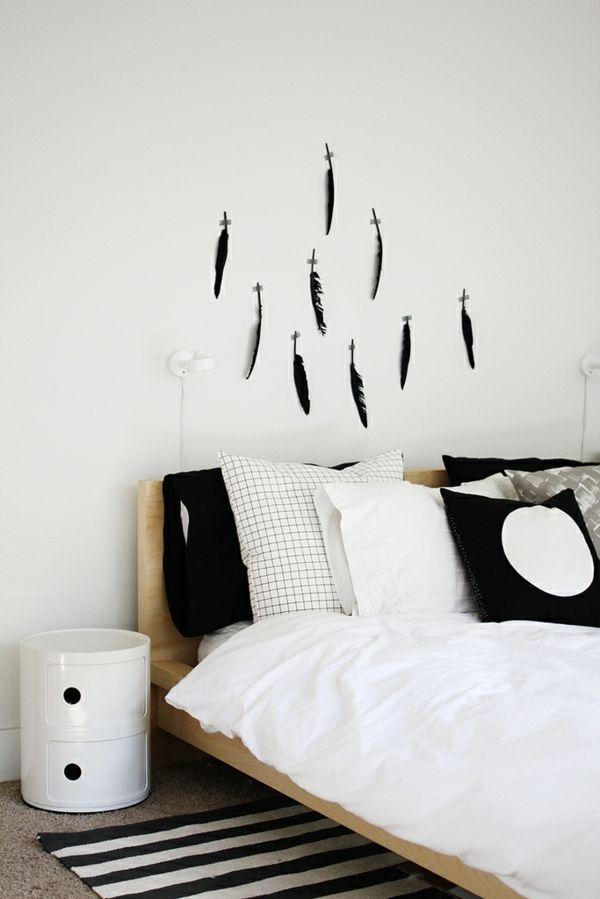 schlichte und trotzdem wunderschöne Wandschablone für das Schlafzimmer-idee schablone