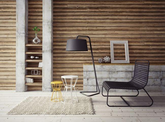 schwarze Stehleuchte, weißer Teppich, schwarzer Sessel, Wandregal, gelber Hocker-Einrichtungstrends