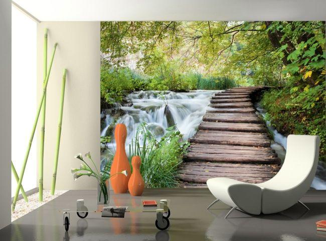 tolle Illusionen als Tapete für die Wand im Wohnzimmer-moderne-deko-wand-tapete