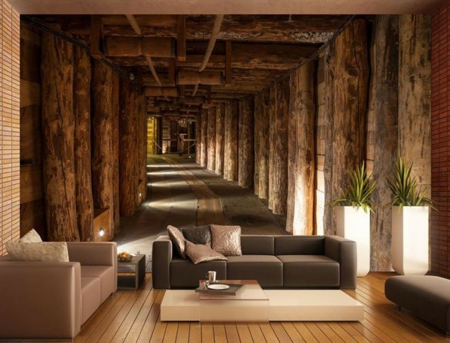 wohnzimmer wand steine: Vlies und Papier für die Wand im Wohnzimmer-moderne-deko-wand-tapete