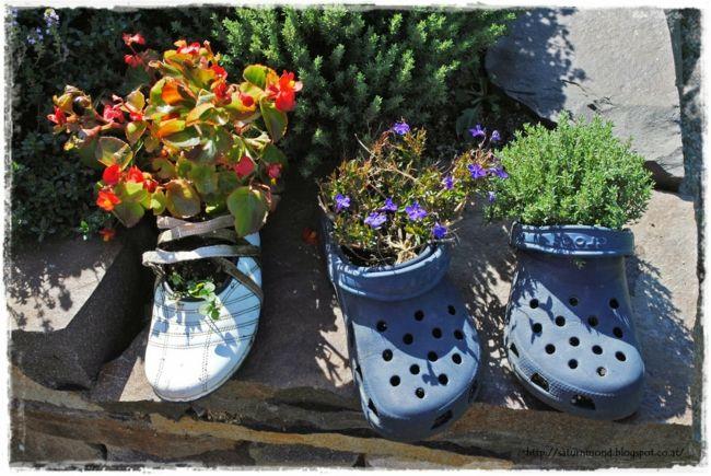 verbrauchte Schuhe in Blumentöpfe umwandeln Gartendeko - Ideen