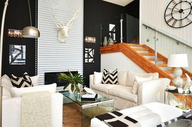 weiße Möbel, Wanddekoration, Treppe aus Holz, Wohnzimmer-Einrichtungstrends