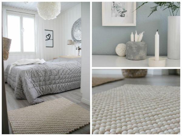 weißer Filzkugel-Teppich im skandinavischen Stil- Skandinavisches Design