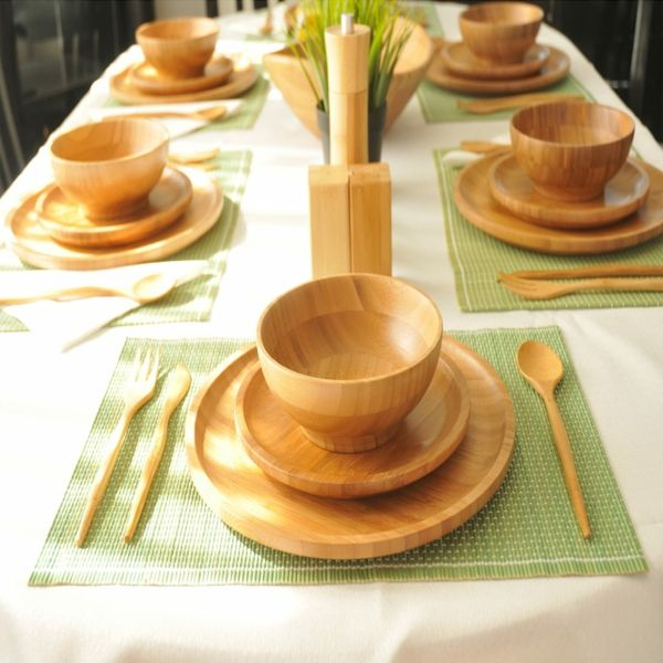 wunderschöne Tischdekorationen mit Bambus-Geschirr-Bambus Dekoration