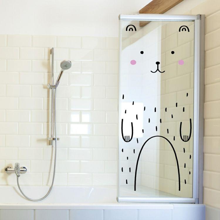 Aufkleber Glasfläche Bad Bär süß