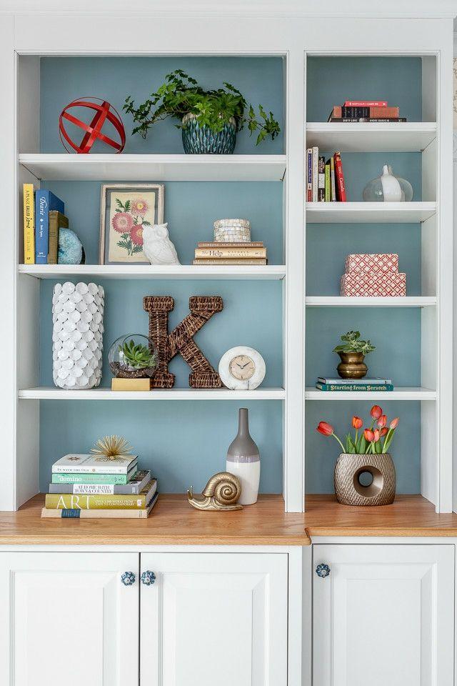 Bücherregal in Weiß und Türkis-Regalsystem Bücher