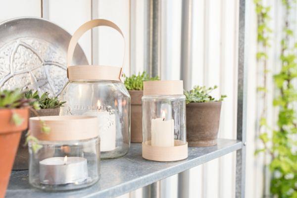 Balkon Pflanzen DIY Windlichtglas