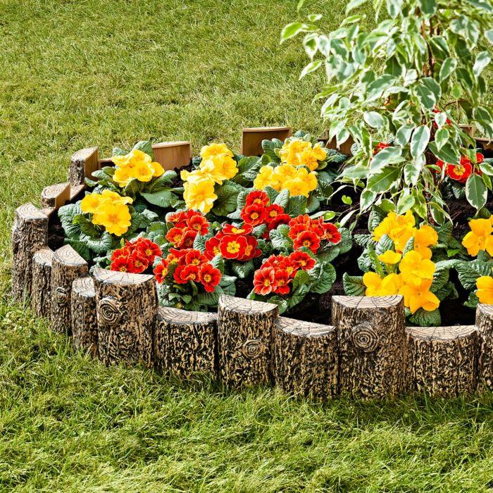 Beeteinfassung für die Blumen auf dem Rasen