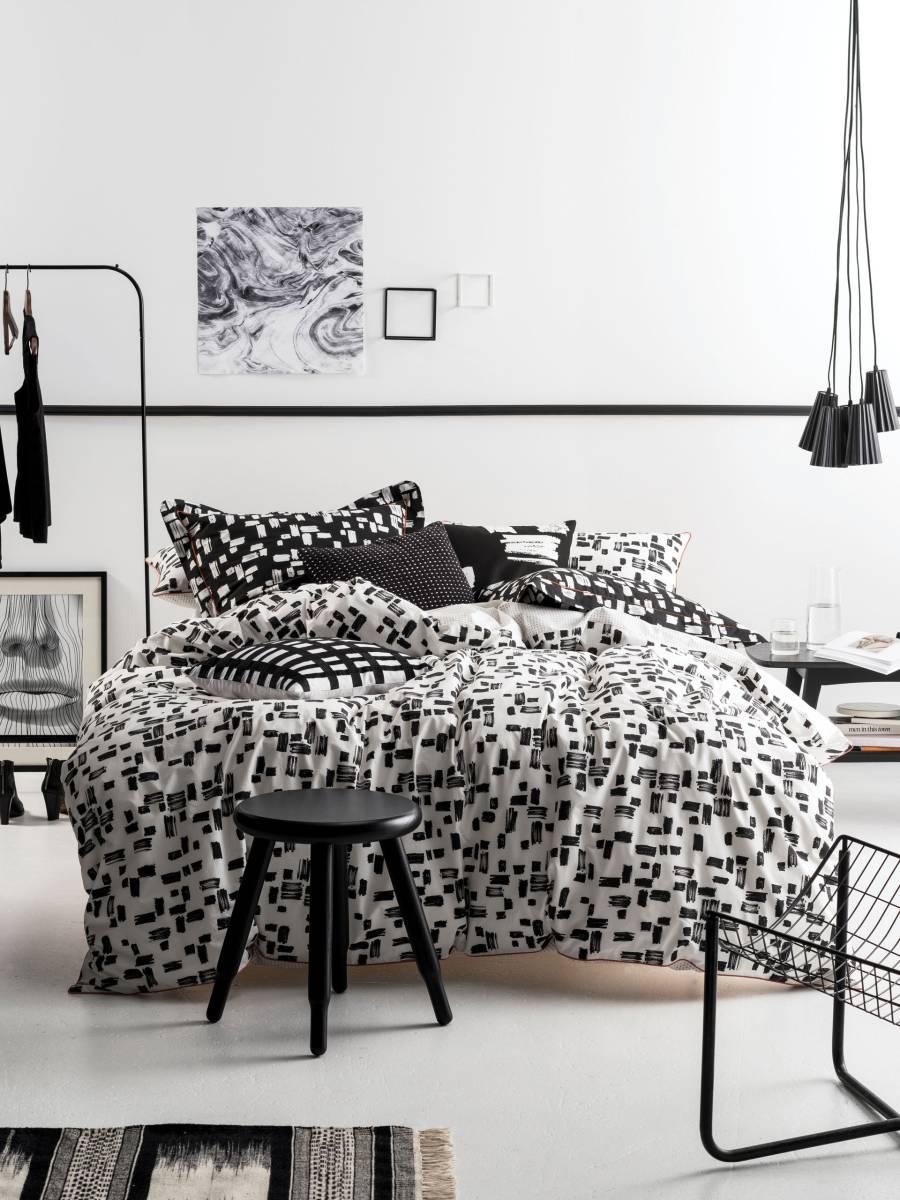 Bettwäsche schwarz-weiß geometrische Muster