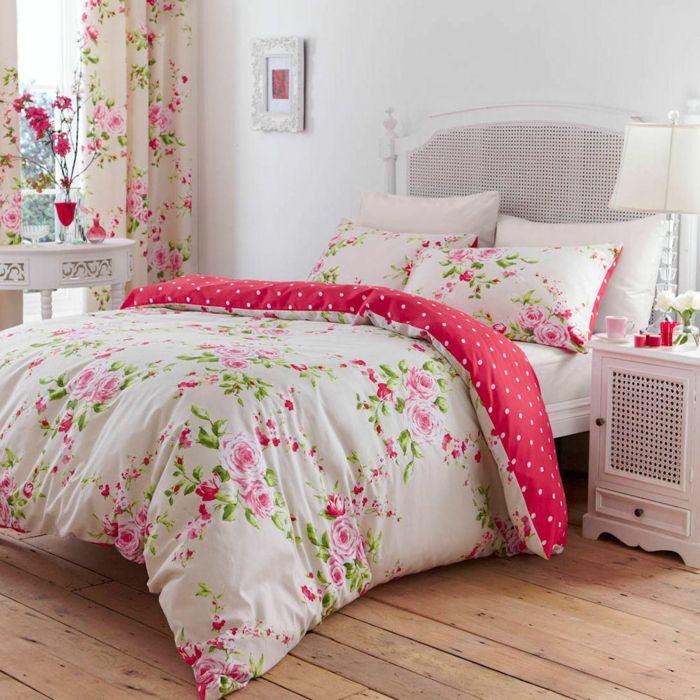 Bettwäsche und Gardinen aus Baumwolle mit Rosen in Shabby Chic-ideen shabby chic