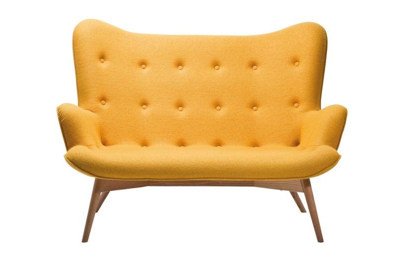 Bezug aus echter Wolle-Sofa Retro gelb