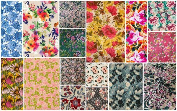 Chintz Stoffe aus Baumwolle mit Blumenmotive