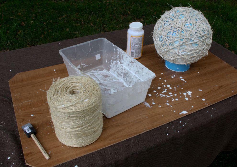 Das Seil färben-es kann zu Verschmutzung kommen-DIY Anleitung Schnurlampe
