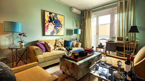 Der Raum kann überladen wirken-Wohnzimmer Boho Chic eklektisch