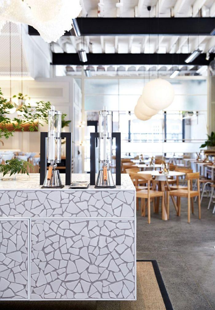 Die Keramikmosaik im Detail-Bar Lokal Restaurant Design