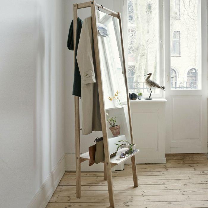Die mobile Funktionalität und das geradlinige Design-Trendiger Garderobenspiegel Eiche Ablagefläche Schlafzimmer
