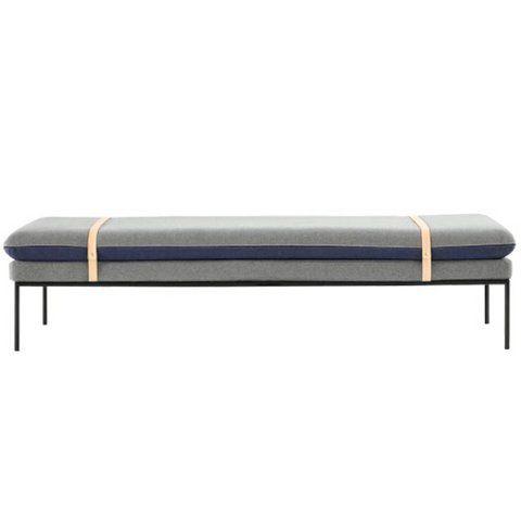 Diwan Sitzbank Wolle grau minimalistisch