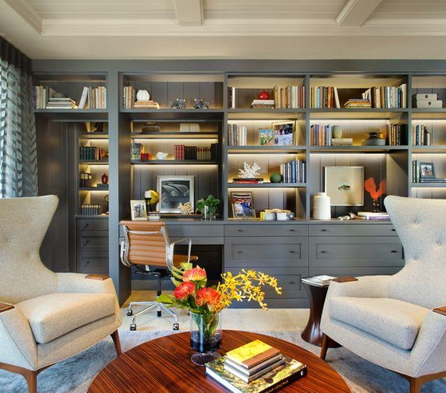 Eigene Bibliothek Mit Schreibtisch Regalwand Elegant