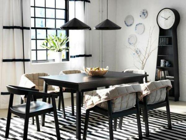 Esszimmer Streifen Schwarz Weiß modern