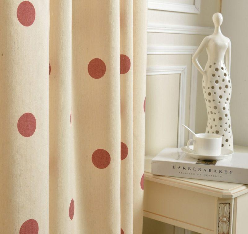 Gardine aus Naturfaser-Gardinenstoff Vorhänge gepunktet beige rot elegant