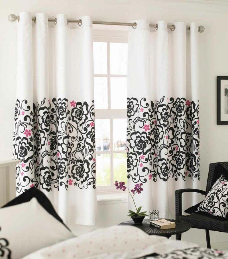 Gardinen mit Blumenmuster-Gardinenstoff Blumen weiß schwarz rosa