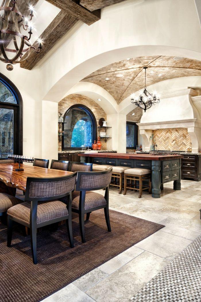 Geräumige mediterrane Küche mit weißen Wänden und runder Steindecke-Designer Luxus Küche Texturkontrast