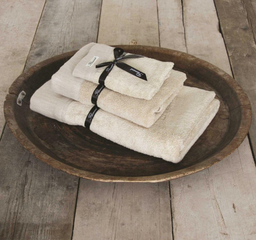 Handtuch aus Baumwolle mit Leinenborte-Bad Accessoires