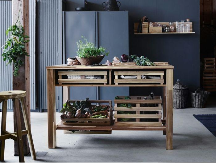 Ikea möbel holz beistelltisch ideen kücheninsel