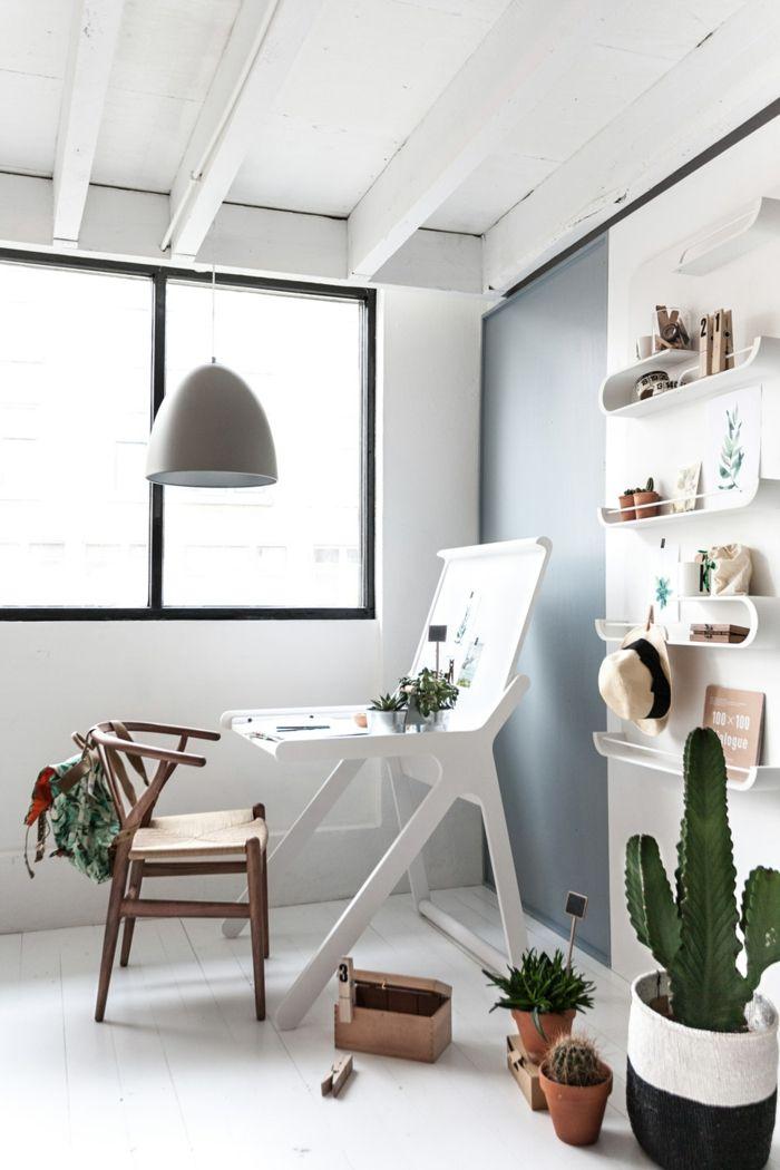 Jugendzimmer weiß minimalistisch Stuhl Schreibtisch