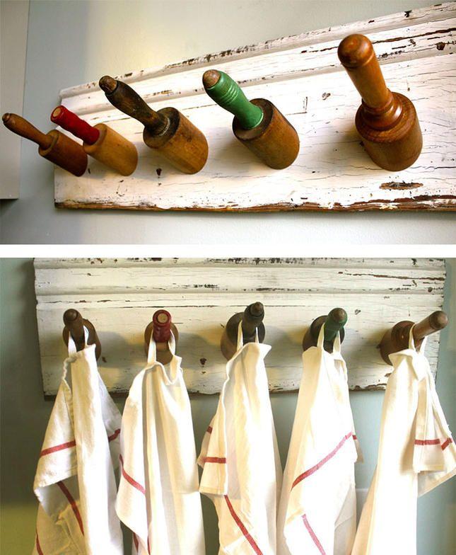 Küche Idee Nudelholz Geschirrtücher aufhängen