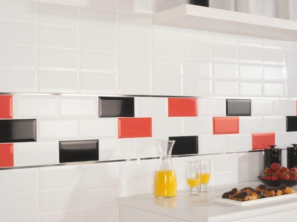 Küchenrückwand Rot Schwarz Weiß Fliesen