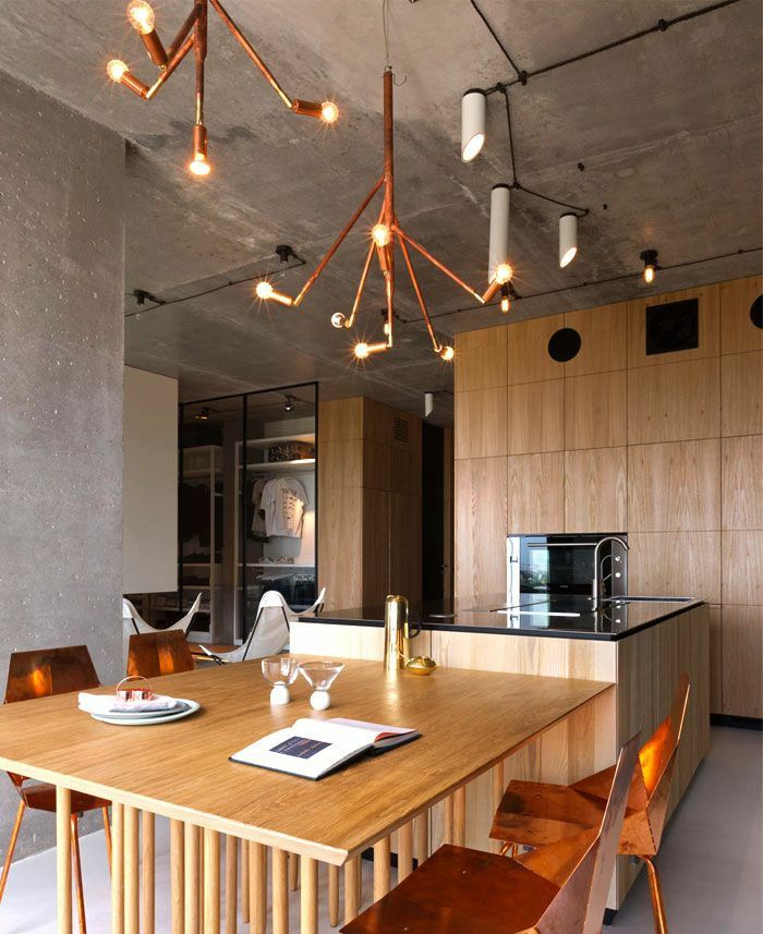 Küchentrends Industrial Holz Betonwand