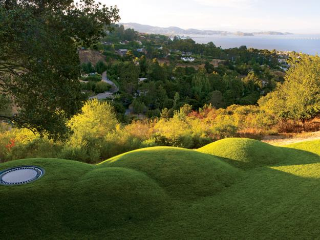 Künstliche Hügel mit angebrachtem Trampolin-Garten Hinterhof Planung Gestaltung