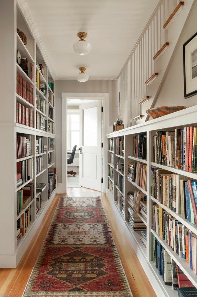 Korridor mit Bücherregalen gestalten-Flur Bibliothek