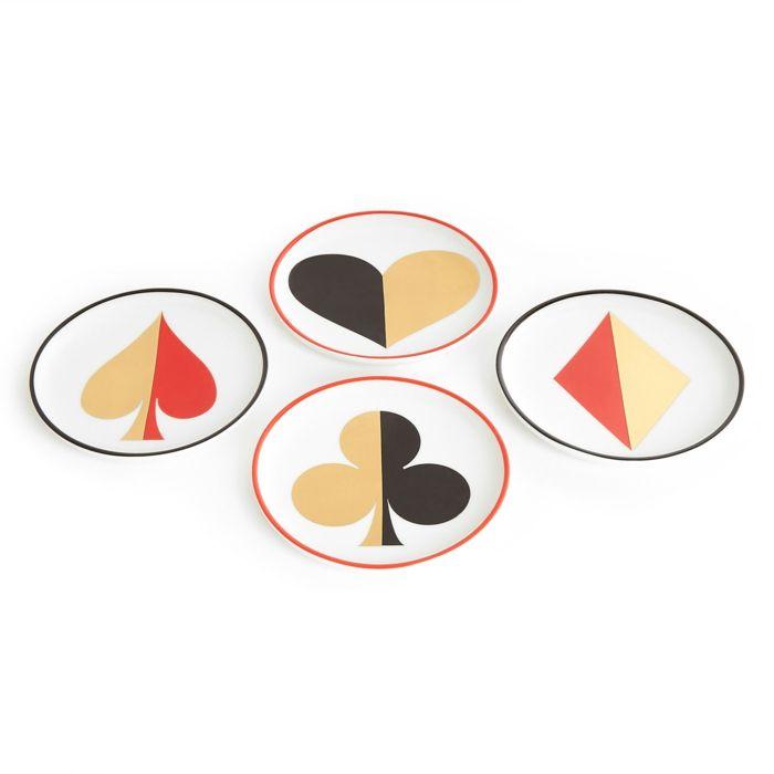 Kunstvolle Spielkartenmotive -Tischuntersetzer Set schwarz rot gold