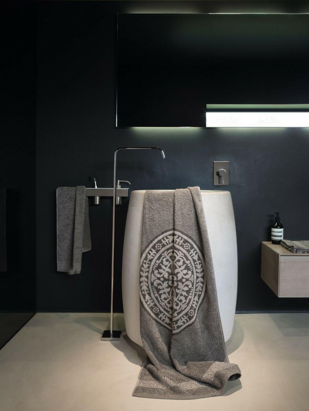 Leinen Handtuch in Grau-Bad Accessoires