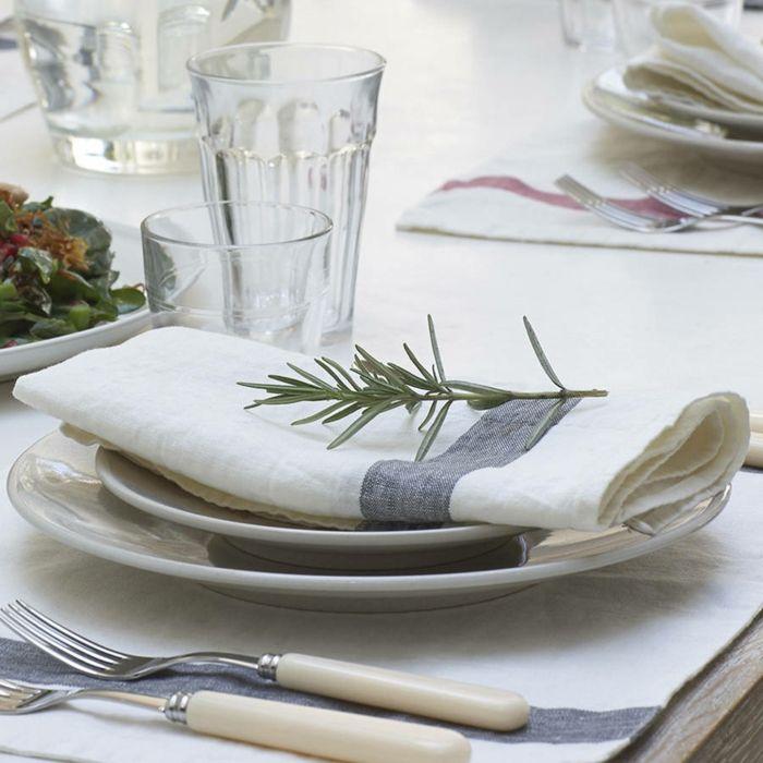 Leinen Servietten Weiß Marineblau Vintage