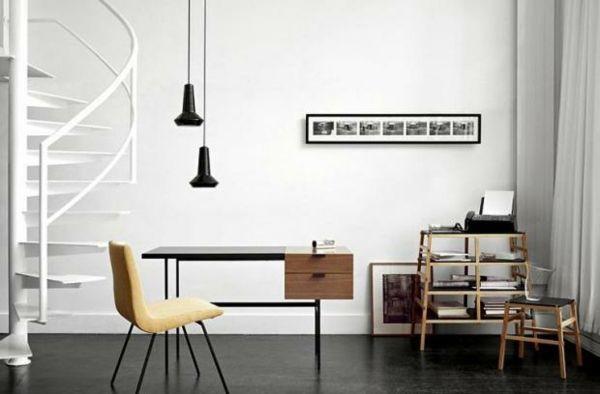 Minimalistisch Wohnzimmer Designer Schwarz Weiß Holz