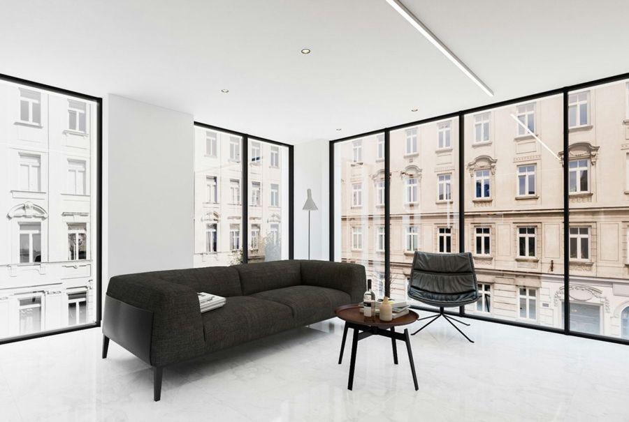 Minimalistisch stilvoll Schwarz Weiß Wohnzimmer Aussicht