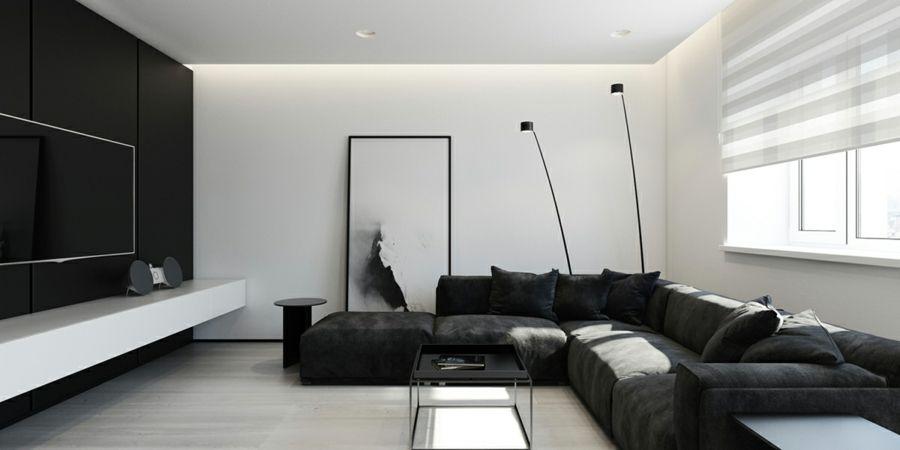 Minimalistischer Stil Wohnzimmer Schwarz Weiß