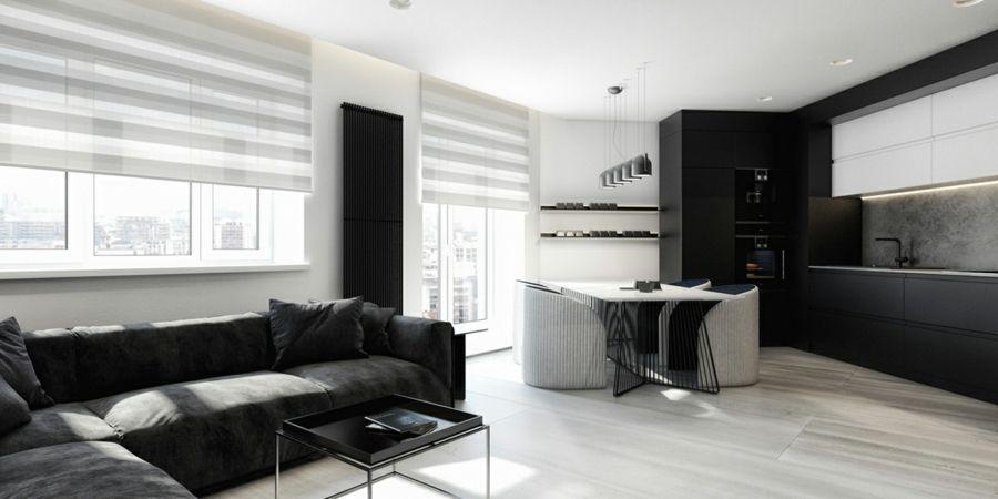 Modern Raum Gestaltung schwarz weiß Streifen