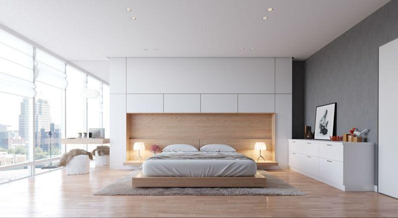 Schlafzimmer modern holz wandpaneele