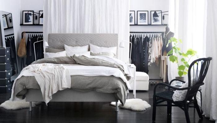 Modernes Schlafzimmer mit Kleiderschrank-Ikea Schlafzimmer Bett weiß grau