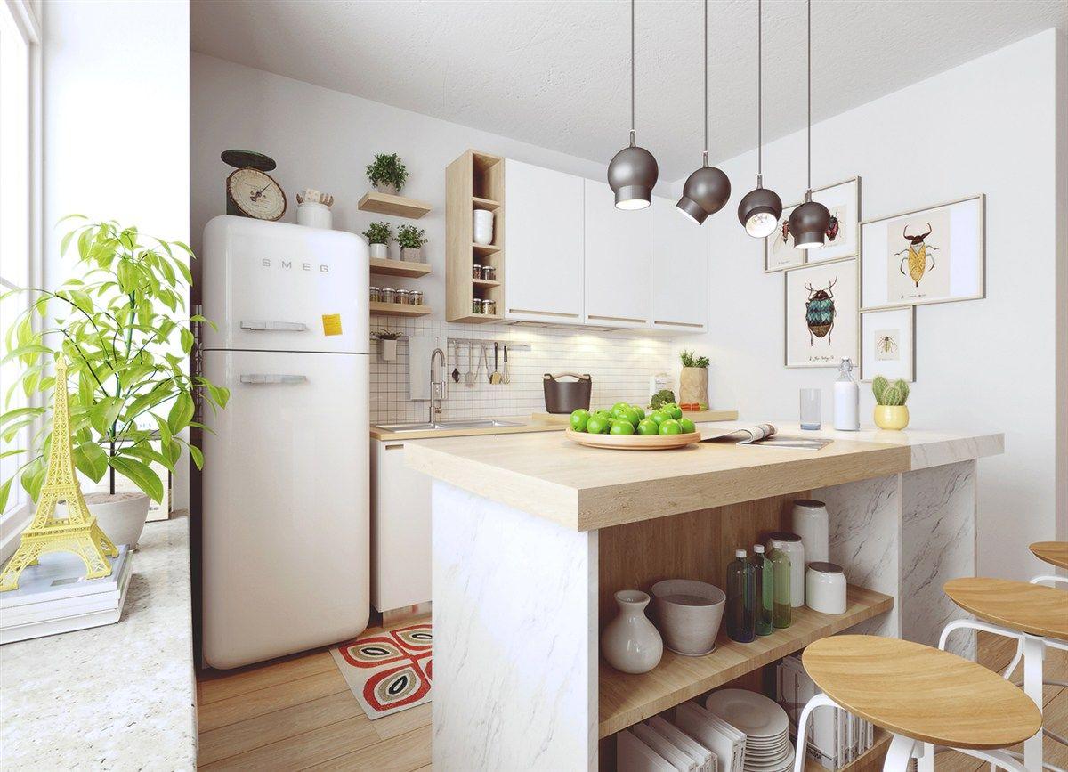 Nordic Kochinsel weiß Holzelemente