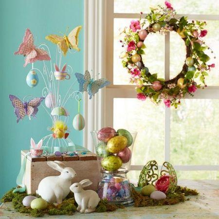 Ostern Dekorationen Schmetterlinge Kaninchen