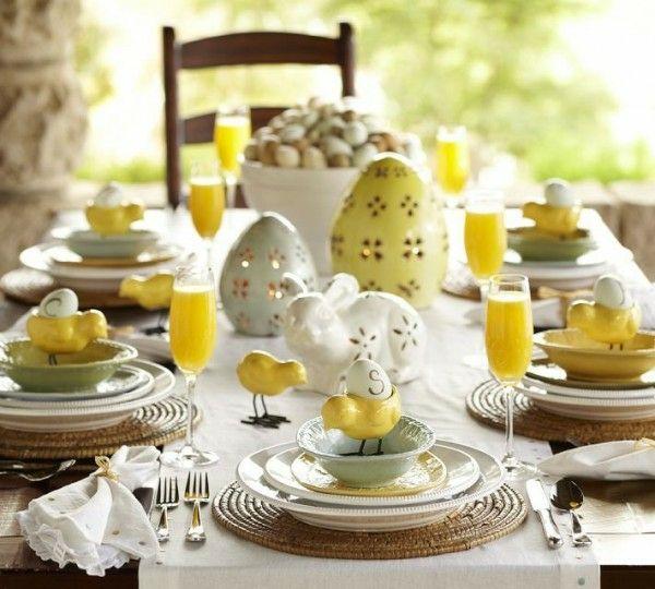 Ostertisch Tischdeko Gelb Porzellanhasen